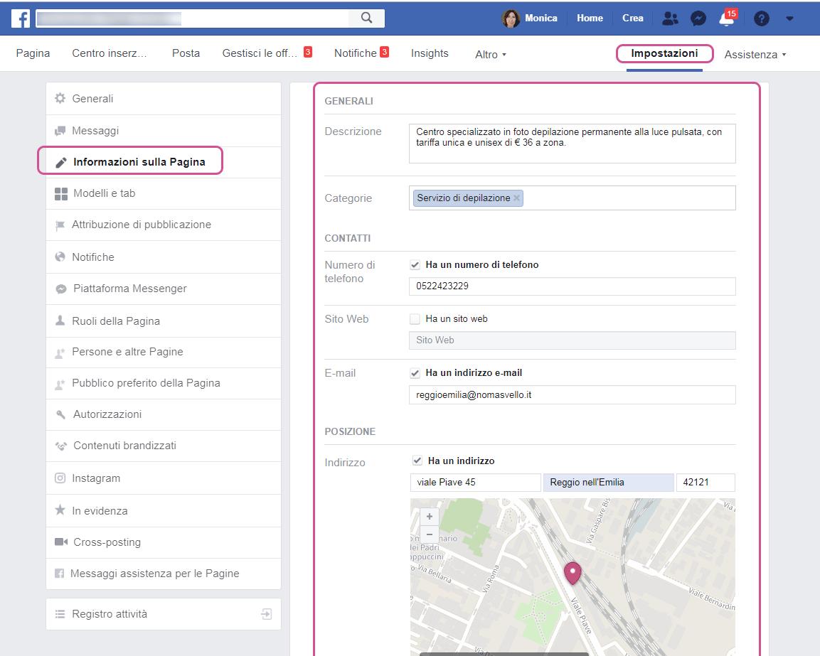 informazioni Facebook centro estetico